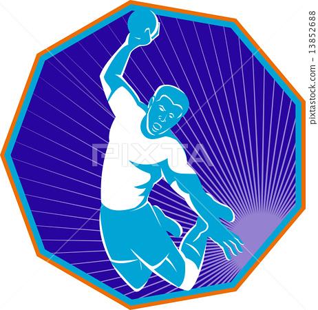 handball player jumping throwing ball 13852688