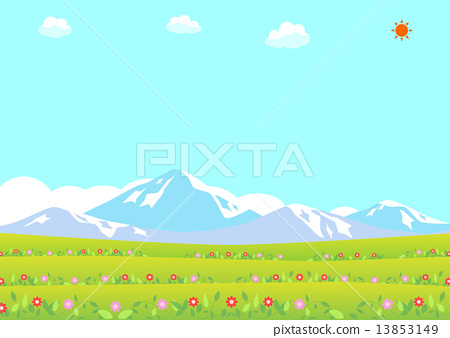 Stock Illustration: snow mountain, flower field, flower garden