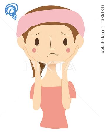 一個關心面部線條的女人 13861843