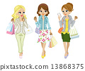 Shopping women 3 people Spring clothes 13868375