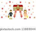 schoolhouse, row of cherry trees, full bloom 13869044