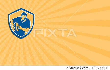 Business card Rugby Player Running Ball Shield Retro 13873364