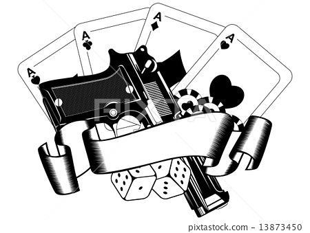 pistols and playing cards 13873450