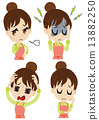 Young woman of apron, embarrassed face set 13882250