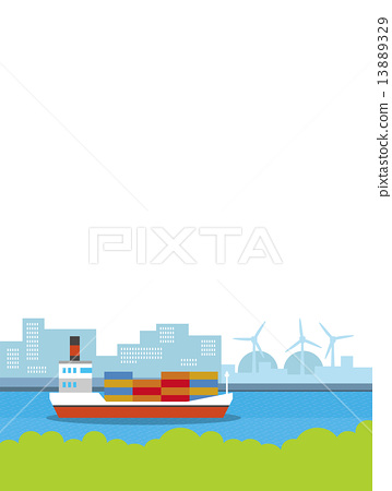 貨船 矢量 集裝箱船 13889329