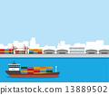 貨船 集裝箱船 矢量 13889502