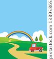 트럭 무지개 나무 구름 밭 13895865
