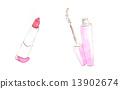 口红唇膏胭脂化妆化妆工具化妆品睫毛膏桃色粉色手绘水彩插图化妆品化妆品化妆红色红色绯红色 13902674