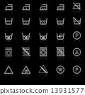 Laundry line icons with reflect on black background 13931577