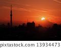 東京晴空塔 鑽石富士 日落 13934473
