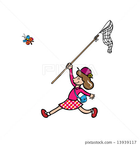 Girl catching butterfly by net 13939117