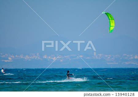 Stock Photo: kite surfing, kitesurfing, kite-surfing