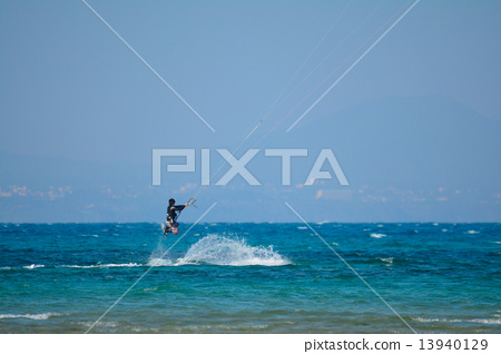 Stock Photo: kitesurfing, kite-surfing, kite surfing