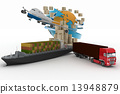 Cardboard boxes around globe, cargo ship, truck and plane. Concept of online goods orders worldwide 13948879