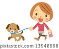 女人 狗 矢量 13948998