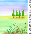 watercolors, grass, field 13952016