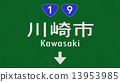 Kawasaki Japan Highway Road Sign 13953985