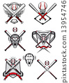 Baseball symbols with heraldry elements and tribal ornaments 13954746