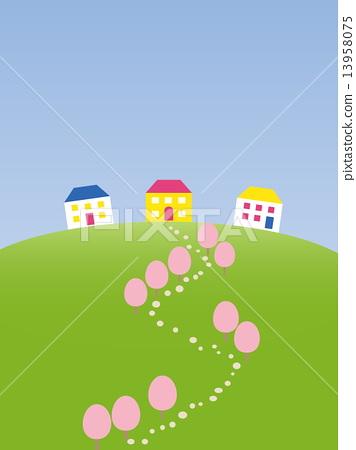 Spring landscape hillside house flowers 13958075