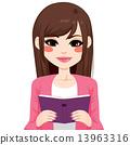 Brunette Asian Girl Reading 13963316