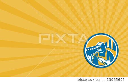 Business card Welder Fabricator Welding Torch Factory Retro 13965693