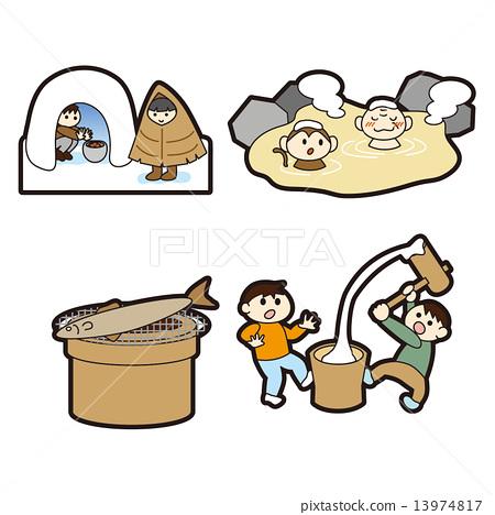 Illustration of seasons and events   Kamakura · hot spring · Mochi with mochi 13974817
