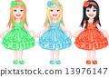 set of charming little girls in fancy dresses 13976147