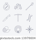 Outline stroke Camping icons. 13976604