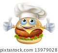 Cartoon chef burger mascot character 13979028