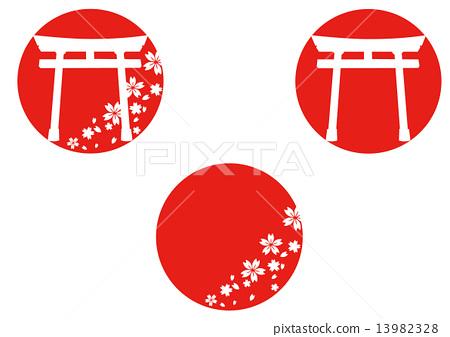 Torii and cherry logo 13982328