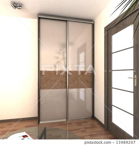 illustration of apartment lobby area 13989207