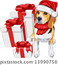 vector dog Beagle in the hat of Santa Claus with Christmas gifts 13990756