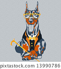 vector funny cartoon hipster dog Doberman Pinscher breed 13990786