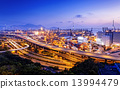 container terminal and stonecutter bridge in Hong Kong 13994479