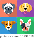 set dog icon flat design 13996019