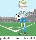 young football player on the football field 13997014