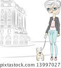 Vector hipster fashion girl with dog 13997027