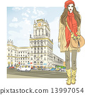 Vector sketch of a stylish girl in the city-center 13997054