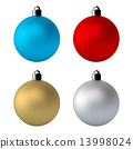 3D Rendering 4 Colors Christmas Balls in Isolated Background With Clipping Paths Included. 13998024