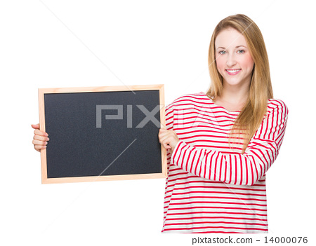 Caucasian Woman hold with chalkboard 14000076