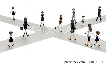 3D-CG of people who cross the intersection 14014994