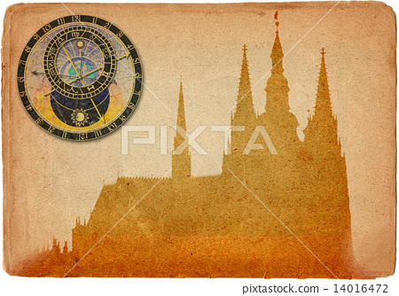 Prague castle and Cathedral of St Vitus in grunge style 14016472