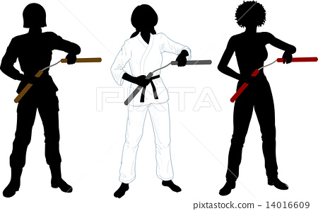 Nunchuck girl in uniform set of silhouettes 14016609