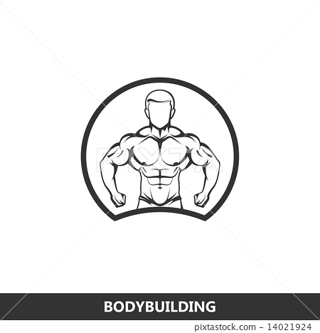 illustration of muscled man body silhouette. fitness logo 14021924