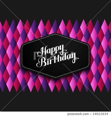 illustration of Happy Birthday emblem and checkered background 14022634
