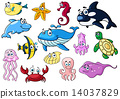 Cartoon sea animals with happy emotions 14037829