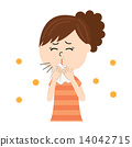 Young women suffering from allergy sneeze 14042715