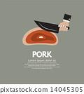 小刀 砍 猪肉 14045305