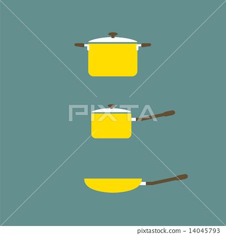 Set of Cooking Pot And Pan Flat Design. 14045793