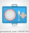 Colored vector icon for food tray 14049799